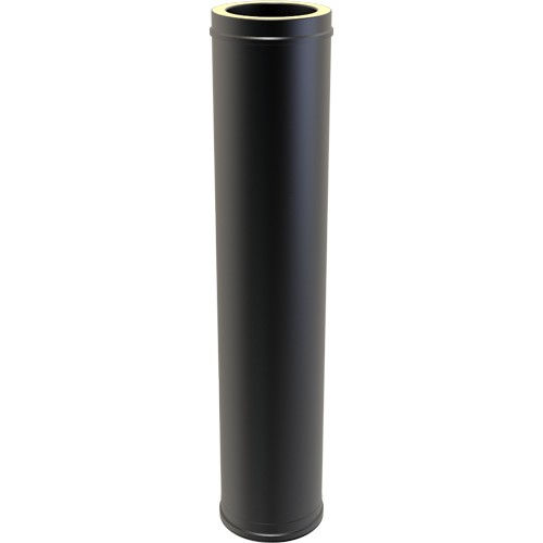 "5"" inch Black Twin wall Flue pipe 1 metre 1000mm"