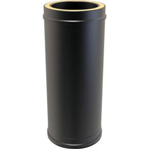 "5"" inch Black Twin wall Flue pipe - 500mm length"