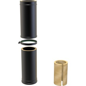Black Twin wall Flue Long Adjustable Pipe 530-880mm  - 130mm Dia
