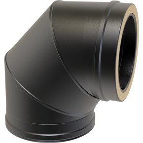 "6"" inch Black Twin wall Flue 90 Elbow"
