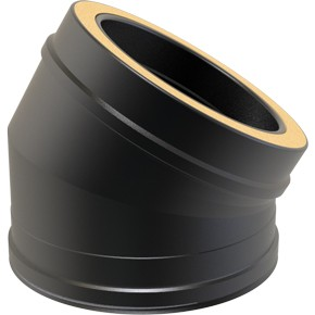 Black Twin wall Flue 30 Elbow - 130mm Dia