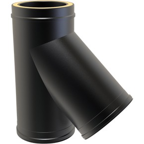 "6"" inch Black Twin wall Flue 135 Tee"