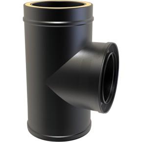 "6"" inch Black Twin wall Flue 90 Tee"