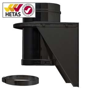 """8"""" inch Black twin wall flue - Adjustable Base Support"""