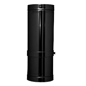 "8"" inch Black twin wall flue - Long Adjustable Pipe 550-880mm"