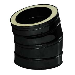 "8"" inch Black twin wall flue - 15º Bend"