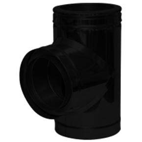 "7"" inch Black twin wall flue - 90º Tee"