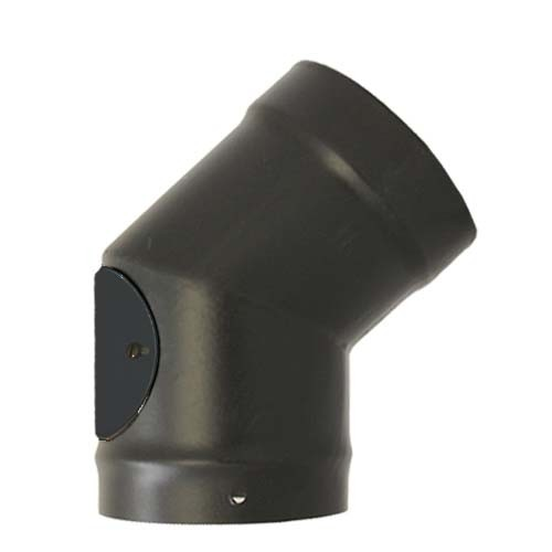 Vitreous Enamel 200mm 45/135 Deg Elbow with Door Matt Black