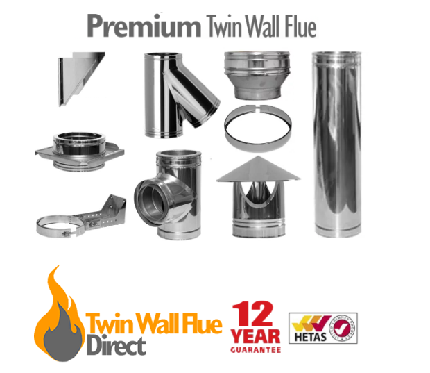 PREMIUM Twin Wall Insulated Flue Pipe Multifuel Wood Stove Stainless Steel