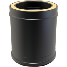 "5"" inch Black Twin wall Flue: Straight Length 330mm - (270mm eff. length) Black Twin wall Flue Pipe"