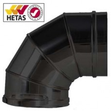 "7"" inch Black twin wall flue - 90º Bend"