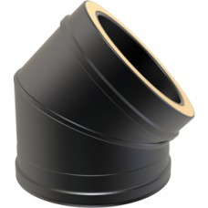 "6"" inch Black Twin wall Flue 45 Elbow"
