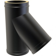 Black Twin wall Flue 135 Tee - 150mm Dia
