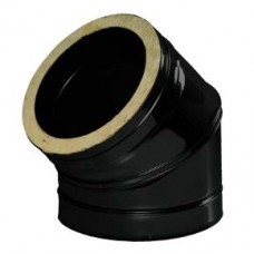 Black twin wall flue - 45º Bend - 175mm Ø / 180mm 7 inch diameter