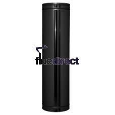 Black twin wall flue - Starter Length 1000mm - 175 mm 180mm 7 inch
