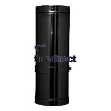 "7"" inch Black twin wall flue - Adjustable Pipe 255-350mm"