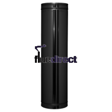 Black twin wall flue - Pipe 1000mm - 200 Ø